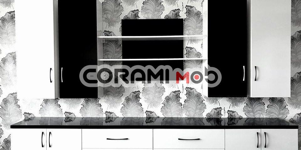 mobilier living pal lucios alb negru suceava